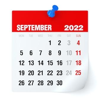 Setembro de 2022 - calendário. isolado no fundo branco. ilustração 3d