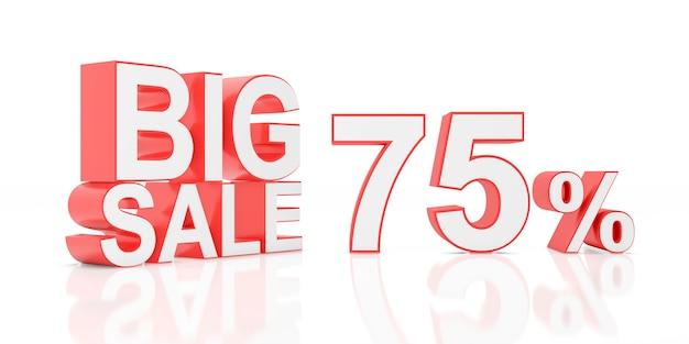Setenta e cinco por cento de venda. grande venda para banner do site. renderização em 3d.
