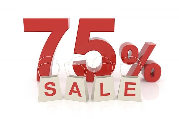 Setenta e cinco por cento de venda
