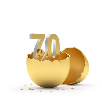 Setenta por cento assina em uma casca de ovo dourada