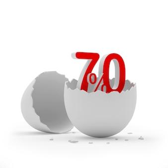 Setenta por cento assinam uma casca de ovo quebrada.