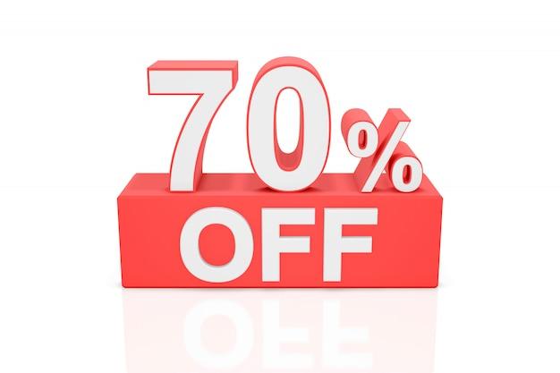 Setenta por cento de desconto. banner de venda. renderização em 3d.