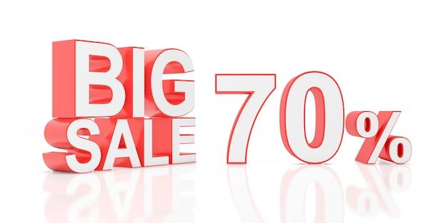 Setenta por cento de venda. grande venda para banner do site. renderização em 3d.
