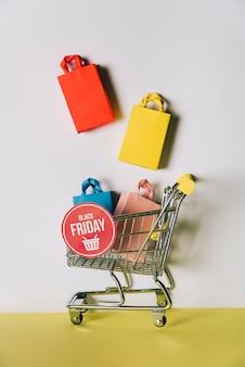 Sexta-feira negra, composição dos sacos no carrinho de compras