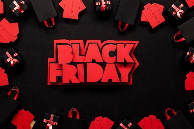 Sexta-feira negra escrita em cores vermelhas
