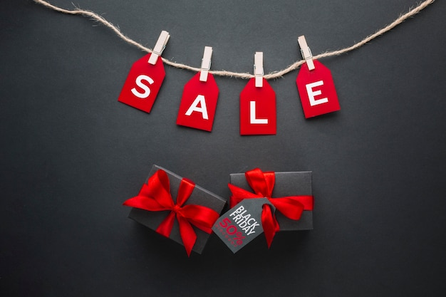 Sexta-feira negra plana leigos apresenta com vendas