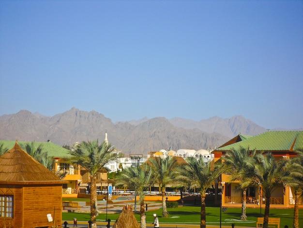 Sharm el sheikh, egito. a vista do hotel de luxo aqua blu sharm