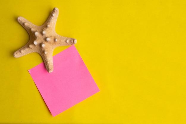 Shell exótico do mar com a vara cor-de-rosa da nota em um fundo amarelo. férias de verão.