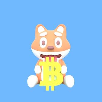Shiba inu 3d segurando símbolos de bitcoin em fundo azul