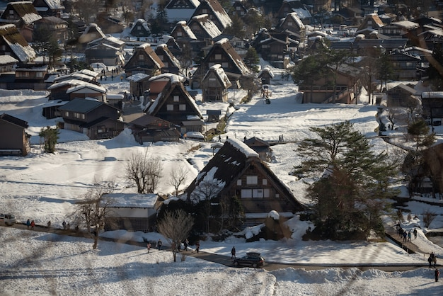 Shirakawago ilumina com queda de neve gifu chubu japão