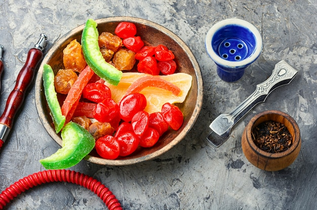 Shisha com frutas cristalizadas.