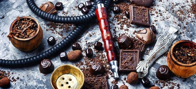 Shisha de tabaco com sabor a chocolate