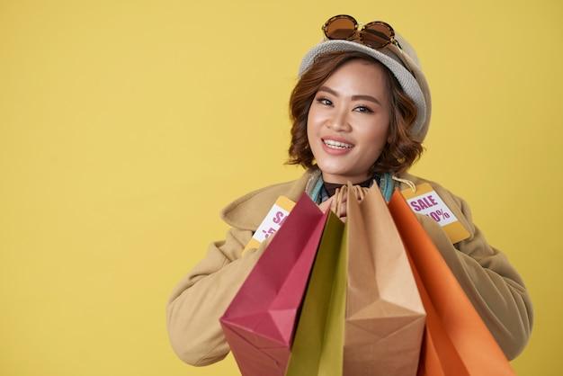 Shopaholic se sentindo feliz