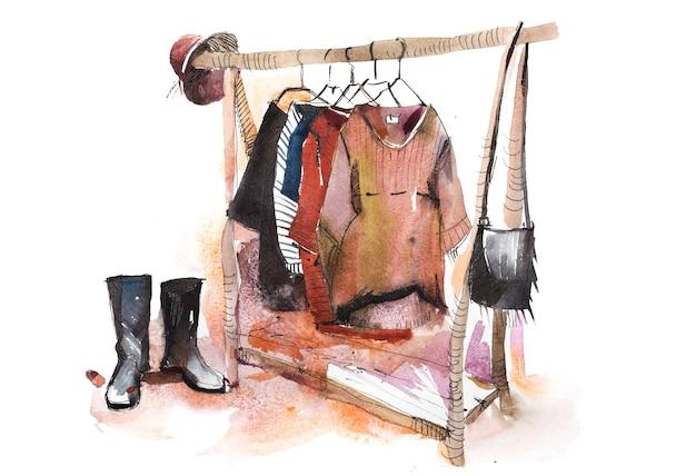 Shopping loja de roupas exposição de roupas exibir aquarela de rack de roupas.