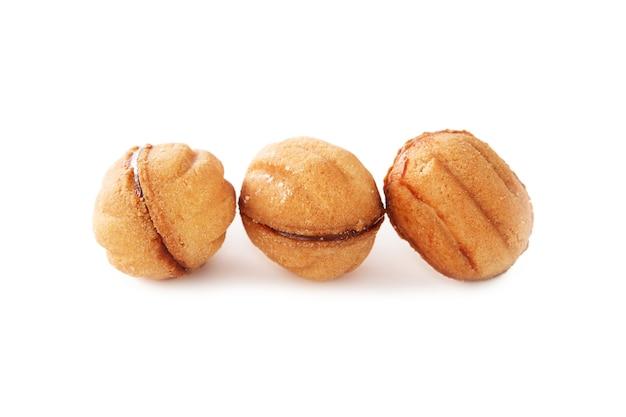 Shortbread cookies de diferentes formas com recheio isolado