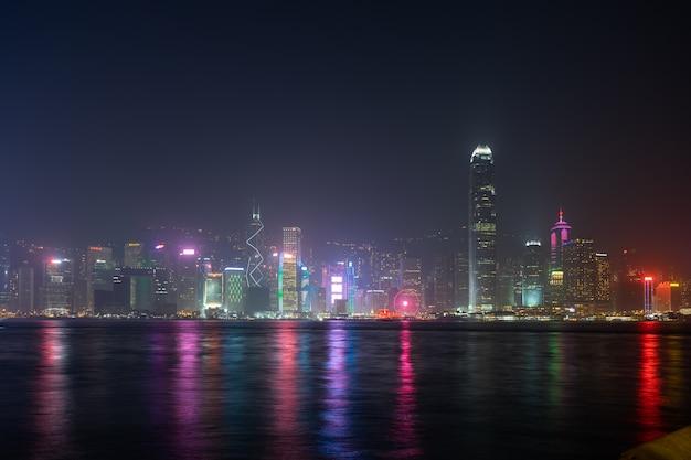 Show de laser da cidade de hong kong symphony of lights panorama arranha-céu landmark
