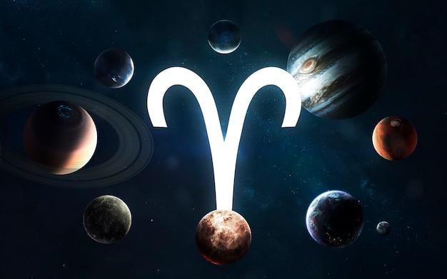Signo do zodíaco - áries. meio do sistema solar. elementos desta imagem fornecidos pela nasa