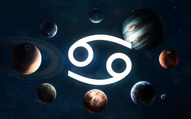 Signo do zodíaco - câncer. meio do sistema solar. elementos desta imagem fornecidos pela nasa