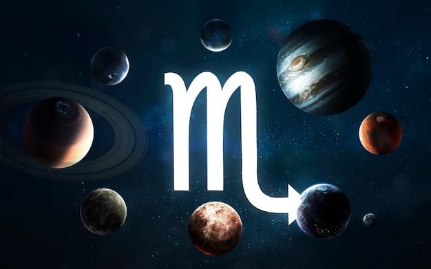 Signo do zodíaco - escorpião. meio do sistema solar. elementos desta imagem fornecidos pela nasa