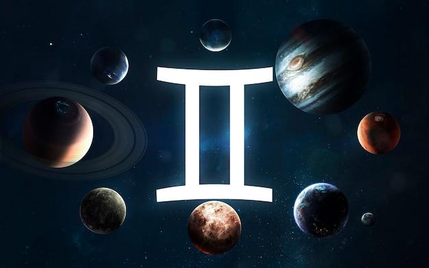Signo do zodíaco - gêmeos. meio do sistema solar. elementos desta imagem fornecidos pela nasa