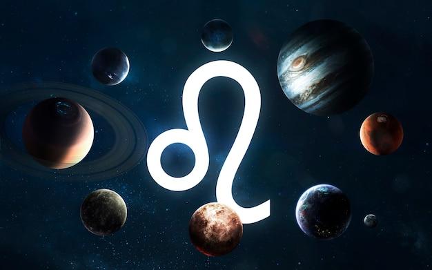 Signo do zodíaco - leo. meio do sistema solar. elementos desta imagem fornecidos pela nasa