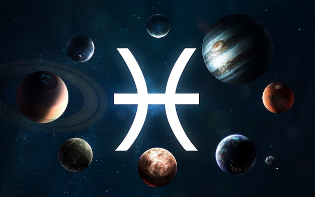 Signo do zodíaco - peixes. meio do sistema solar. elementos desta imagem fornecidos pela nasa