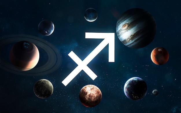 Signo do zodíaco - sagitário. meio do sistema solar. elementos desta imagem fornecidos pela nasa