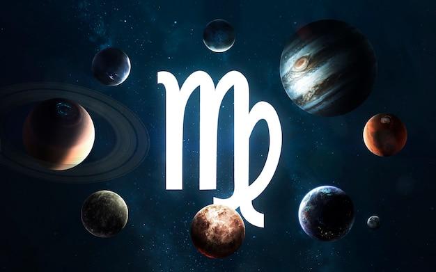 Signo do zodíaco - virgem. meio do sistema solar. elementos desta imagem fornecidos pela nasa