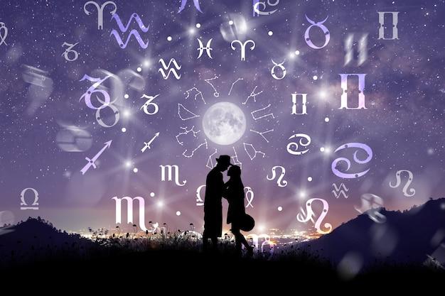 Signos astrológicos do zodíaco dentro do círculo do horóscopo casal cantando e dançando sobre a roda do zodíaco