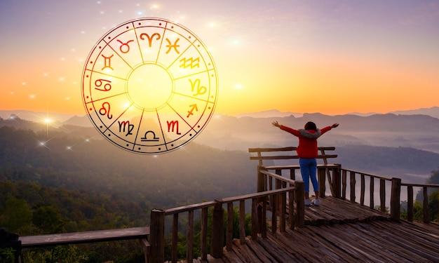 Signos do zodíaco dentro da astrologia do círculo do horóscopo e do conceito dos horóscopos