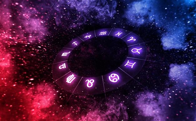 Signos do zodíaco dentro do círculo do horóscopo no universo astrologia e horóscopos