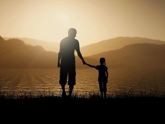 Silhueta 3d de pai e filha contra uma paisagem do oceano por do sol