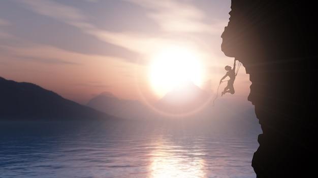 Silhueta 3d de um alpinista extrema contra uma paisagem do oceano por do sol