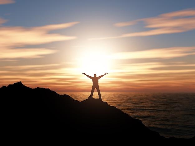 Silhueta 3d de um homem com os braços levantados contra uma paisagem do oceano do por do sol