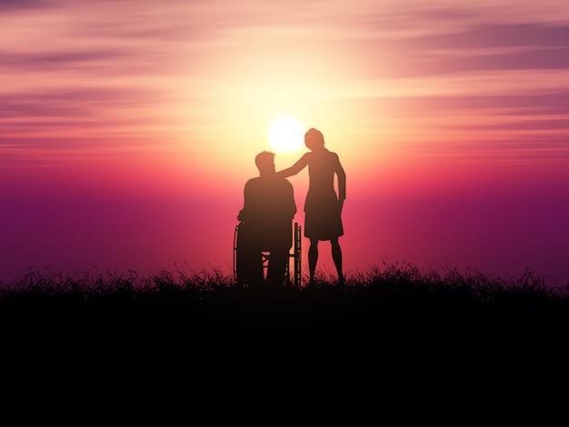 Silhueta 3d de um homem em uma cadeira de rodas com uma mulher contra uma paisagem do sol