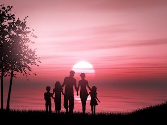 Silhueta 3D de uma família contra um oceano do por do sol