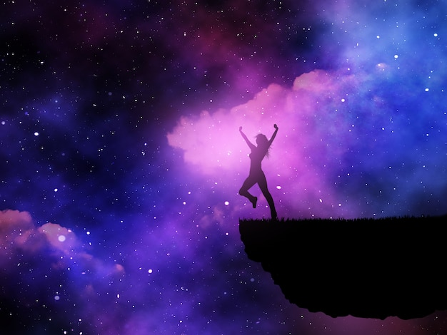 Silhueta 3d de uma fêmea alegre contra um céu noturno do espaço