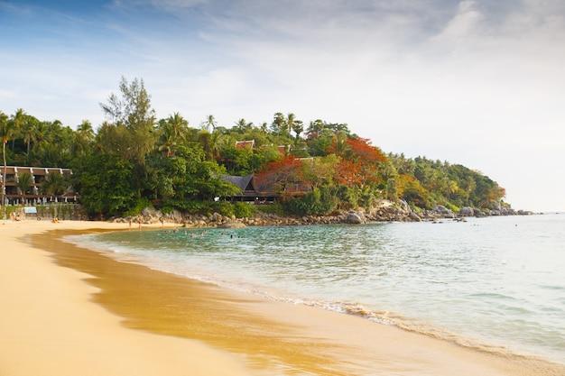 Silhueta bela paisagem durante a luz do sol da praia