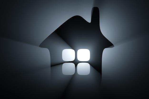 Silhueta da cabana nos feixes de luz de fundo.