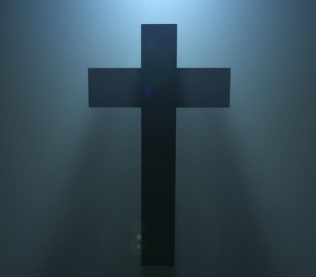 Silhueta da cruz cristã da páscoa no fundo preto