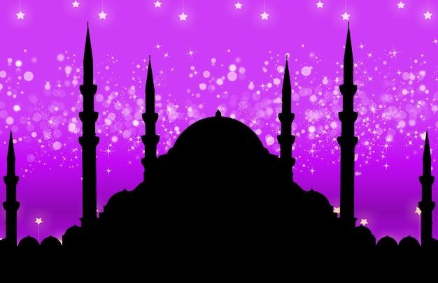 Silhueta da mesquita com fundo abstrato colorido