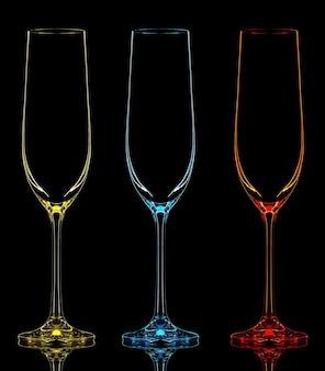 Silhueta da taça de champanhe de cor em fundo preto.