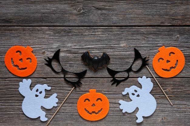 Silhueta de abóbora assustadora, fantasmas, máscara de gato preto e morcego