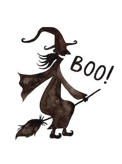 Silhueta de bruxa de aquarela de halloween.