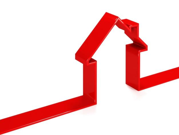 Silhueta de casa vermelha feita de plástico
