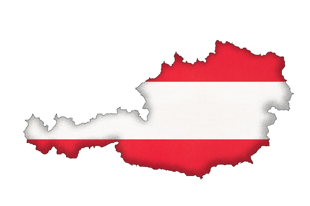 Silhueta de fronteira da áustria com a bandeira nacional com espaço de cópia. sinal oficial austríaco. contorno do país.