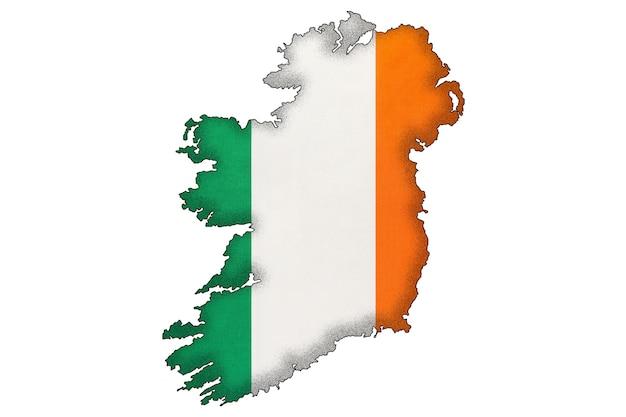 Silhueta de fronteira da irlanda com a bandeira nacional com espaço de cópia. sinal oficial irlandês, cartografia.