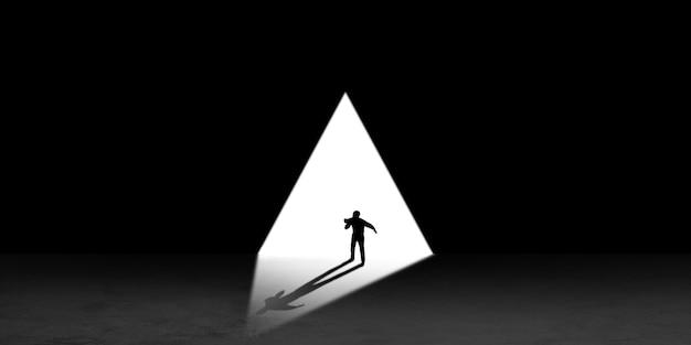 Silhueta de homem caminhando no meio da noite em direção à luz, vista de cima. modo de vida, indo a lugar nenhum. flyer com copyspace. mente e conceito de arte, solidão, liberdade de escolha. ilustração abstrata.
