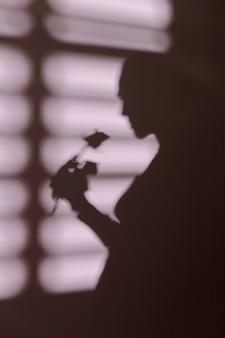 Silhueta de mulher em casa com sombras nas janelas