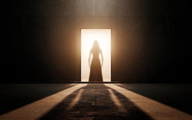 Silhueta de mulher em uma sala vazia